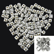 100Pcs Bling Silver Plated Crystal Rhinestone Loose Spacer Beads Art Crafts 6mm