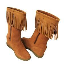 $75 Skechers Womens Plus 3-A Fringe Ahead Hidden Wedge Heel Boot Rust 8.5