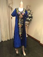 "44"" L Ceylon Batik Cotton Nighty Indian Nightie Summer Night Dress Blue N6"