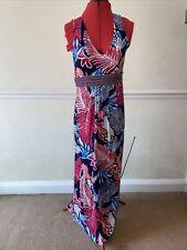 Summer Maxi Dress Size 12 Multicoloured Floral Geometric Boho By Monsoon