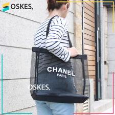 NEW CHANEL PARIS MESH TOTE SUMMER SHOULDER HAND BAG BEACH SHOPPING BLACK