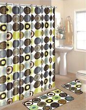 15 Piece Set shower curtain ,12 fabric matching hooks,bath mat,contour