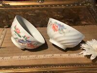 """2 Asian Porcelain Rice Bowls, 1 Koi Fish & Floral & 1 Floral 4 3/8""""x2 1/4"""""""