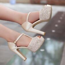 Womens Glitter Sequin Peep Toe T-Strap Platform Party Date Wedding Shoes Pumps