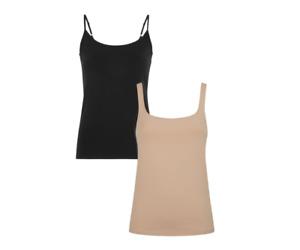 Bundle of 2 ex-M&S Tops Cotton Built-up Shoulder Vest Top Black / Almond size 12