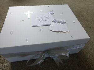 First Holy Communion Memory Christening Keepsake Box Personalised White Silver