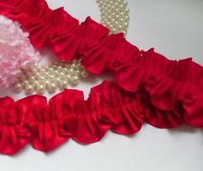 """2-1/8"""" Red Ruffle Pleated Satin Lace Trims-1 Yard-T472R"""