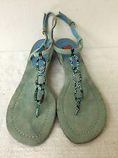 Oscar de la Renta Arden women flat sandals turquoise blue leather suede size 9M