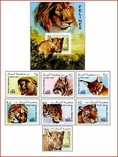 SOM97082 Wild cats 7 stamps and block