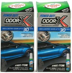 2 Count Turtle Wax Kinetic New Car Scent Power Out Odor-X 30 Days Free Item Too