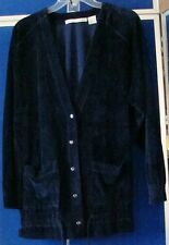 EUC Beautiful FIRST ISSUE Velour CARDIGAN Navy with pockets & Drawstring Sz S-L