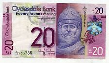 CLYDESDALE  Bank Twenty  POUND BANKNOTE Replacement EZZ 11th July 2014