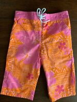 Lilly Pulitzer Girls Board Shorts Size 5 Orange & Pink Tropical Tiki 100% Cotton