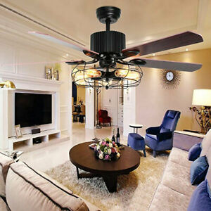 """52"""" Rustic Edison Industrial Ceiling Fan With Cage Light W/ Remote Control E27*3"""