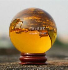 EPIC STONE-40mm Asian Quartz Amber Crystal Sphere- w Stand-Reiki Chakra