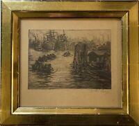 Willi Lange (1876-1950) Schiffe im Hafen Hamburg Radierung 25,5 x 28 cm