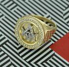 1.20 Ct Round Diamond Religious Mason Masonic Ring For Mens 14k Yellow Gold Over