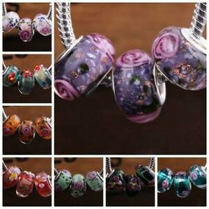 10Pcs Murano Lampwork Glass Charm Big Hole Beads Fit European Bracelet Crafts
