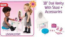 "White 18"" Doll VANITY Mirror +STOOL +Make-Up Case SET for American Girl Bed Room"