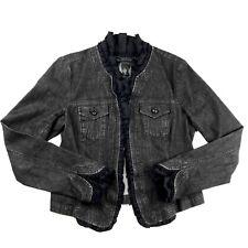 INC International Concepts Women's Denim Jean Jacket Small Black Ruffles
