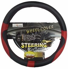 UNIVERSAL Black Red Steering Wheel Cover - Stylish Soft QUALITY PU LEATHER 38cm