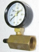 """Gas or air test set with 2"""" 60 Psi gauge, 3/4"""" Npt plated steel hex body"""