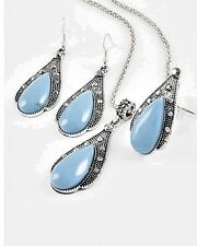 TURQUOISE Color Teardrop Marcasite-Look Jewelry Necklace/Earrings/Ring Set #29-E