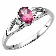 Genuine Pink Tourmaline Oval Gemstone & Diamonds Ring 14K. Solid White Gold sz 6
