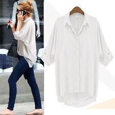 Fashion Women Casual V-Neck Long Sleeve Chiffon T Shirt Summer Loose Top Blouse