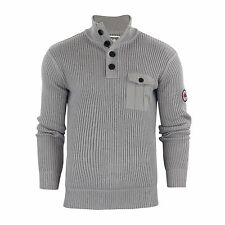 Mens Jumper Crosshatch Pendalton Knitted 1/4 Button up Pull Over Sweater Titanium Small