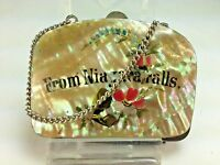 Antique French Mother of Pearl Hand Painted Niagra Falls Coin Purse 1880's