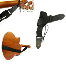 Adjustable Black Nylon Acoustic Electric Guitar Strap Leather Ends Easy to use
