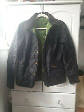 Womens quilted barbour jacket  Black size 10 green lining