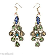 Bronze Needles Earrings Rhinestones Crystals Studded Antique Oriental Style Long
