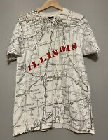 Men's Vintage 90's Chicago All Over Print Map T-shirt Size Large Screen Stars
