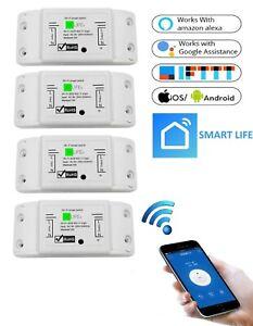 4 STÜCKE | Wifi WLAN Switch Smart Schalter für Alexa APP-Steuerung 2200W