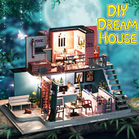 LED Dollhouse Miniature DIY Kit Wood Toy Doll House Cottage Cafe House Xmas Gift