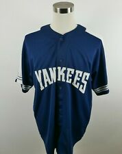 MLB New York Yankees Mens SS Button Down Stitched Navy Blue Jersey by Starter XL