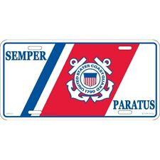 """U.S. Coast Guard USCG Semper Paratus Anchors 6""""x12"""" Aluminum License Plate Tag"""