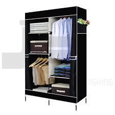 DOUBLE CANVAS WARDROBE RAIL CLOTHES STORAGE CUBPBOARD BEDROOM BLACK NEW