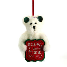 "BOYDS CHRISTMAS ORNAMENT PLUSH-5"" SNOWBEAR FROSTY-SNOW BETTER FRIEND SIGN NEW/11"