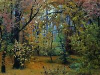 Ivan Shishkin Autumn Forest Fine Art Poster Print Reproduction on Canvas Small