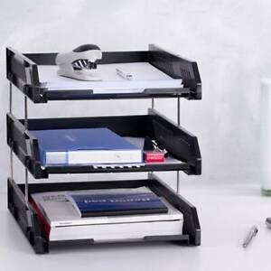 3Tier Office Filing Trays Letter Rack Desk Organiser Paper A4 Document Holder UK