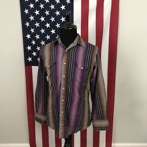 Large Vintage 90s Wrangler Pearl Snap Striped Western Shirt men's purple 2f368