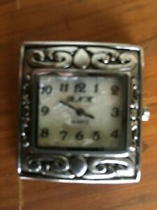 Wristwatch Quartz Rectangle Shape, B N K Chrome with Mother of Pearl Look Face