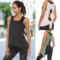 Women Sexy Open Back Yoga Shirt Workout Sports Gym Tank Tops Vest Activewear O82