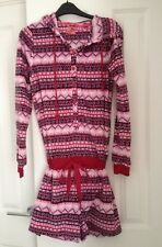 Lovely Girls pyjama shorts set fleece style hood size S Pink Purple