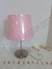Pottery Barn West Elm Satin Chrome Bedside Dorm Table Lamp Light & BLAKE SHADE