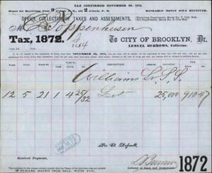 1872 Brooklyn City of Brooklyn Receipt for tax payment Williams Lemuel Burrows O