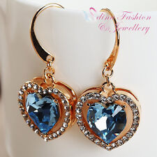18K Rose Gold GF Made With Swarovski Element Aquamarine Heart Dangle Earrings